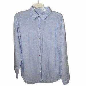 Sigrid Olsen 100% Linen Chambray Buttoned Shirt.